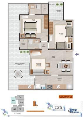 Área privativa de 70,13m²,  à venda