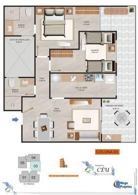 Apartamento de 66,14m²,  à venda