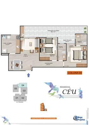 Apartamento de 71,17m²,  à venda