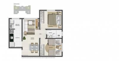 Apartamento de 48,21m²,  à venda