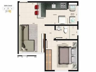 Apartamento de 37,00m²,  à venda