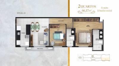 Apartamento de 66,18m²,  à venda