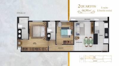Apartamento de 66,91m²,  à venda