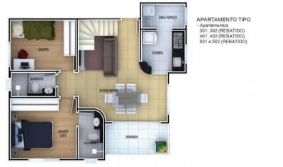 Apartamento de 64,03m²,  à venda