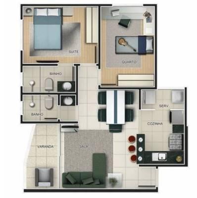 Apartamento de 60,50m²,  à venda
